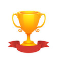 gold cup trophy award with red label prize vector image vector image