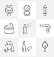 hairdresser icons line style set with spray hand vector image