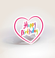 Happy birthday pink paper heart on White vector image