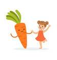 happy girl having fun with fresh smiling carrot vector image vector image