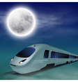 High-speed train at night with full moon vector image vector image