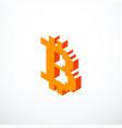 isometric pixel bitcoin icon vector image vector image