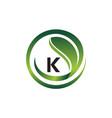 leaf initial k logo design template vector image vector image