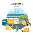 Logistic Warehouse Template vector image