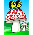 lovers on mushroom vector image vector image