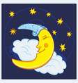 moon sleeping on a cloud with stars vector image