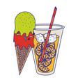 orange juice cup and ice cream cone cartoon vector image vector image