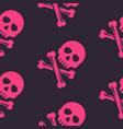 pink skull and bones seamless pattern vector image