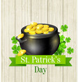pot of gold and clover leaves vector image vector image
