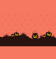 pumpkin on hill halloween style background vector image vector image