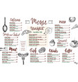 restaurant menu templated with hand drawn food vector image