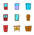 Security door icons set cartoon style vector image vector image