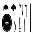 set of ancient celtic weapon and protective vector image vector image