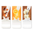 Set of banners with hazelnuts chocolate oranges