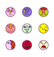 set of colorful face expression icons vector image vector image