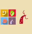 set of medecine icons on sand background included vector image vector image