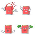 set of red book character with listening call me vector image vector image