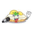 singing cartoon piece of yummy lemon meringue pie vector image
