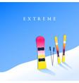 ski resort skiing and snowboard on hillside vector image