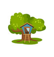 treehouse hut on green tree for kids outdoor vector image vector image