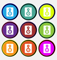 Video Tape icon sign Nine multi-colored round vector image