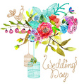 watercolor floral background with bird cages vector image vector image