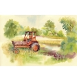 Watercolor tractor Machine in yard Equipment on