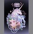 with unicorn and coniferous decorations vector image vector image