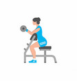 woman lifting up barbells doing biceps exercise vector image vector image