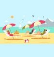 women friends spending time on beach relaxing vector image vector image