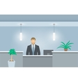 Young man receptionist stands at reception desk vector image