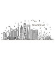 shanghai architecture line skyline vector image