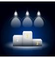 White Pedestal Illuminated By Spotlights vector image