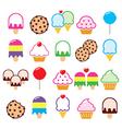 Cupcake ice-cream cookie lollipop icons vector image