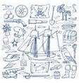 Pirates hand drawn set vector image