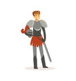 smiling knight standing with sword european vector image