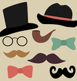 Set for Gentelmens Party Glasses Hats Bow Ties vector image
