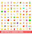 100 trophy and awards icons set cartoon style vector image vector image
