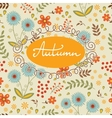 Beautiful autumn card with seamless background and vector image