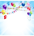 Blue holiday background with balloons vector image vector image