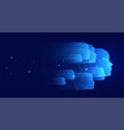 blue technology background with many faces vector image