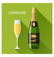 bottle and glass champagne in flat design style vector image