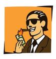 businessman lights a cigar with dollar vector image