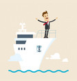businessman standing on the deck of a ship vector image vector image