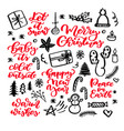 christmas doodles and holiday lettering hand vector image
