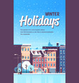 city building houses winter street cityscape vector image