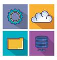 cloud computing set flat icons vector image vector image