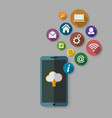 cloud computing storage and applications on a vector image