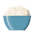 cottage cheese in bowl isolated on white vector image vector image