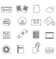 data storage media black simple outline icons vector image vector image